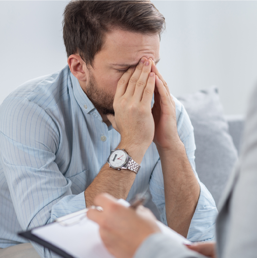 Man sitting with stress   SCPC TMS
