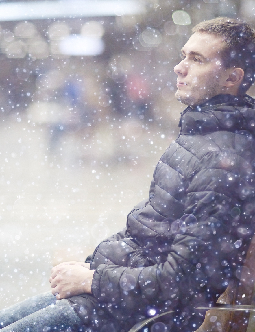 Man Sitting Alone in Winter | SCPC TMS